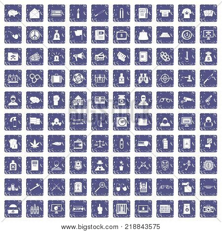 100 criminal offence icons set in grunge style sapphire color isolated on white background vector illustration