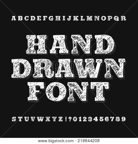Hand drawn alphabet font. Handwriting letters and numbers on a dark background. Stock vector typeface for your headers or any typography design.