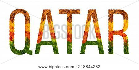 qatar. word is written with leaves white isolated background, banner for printing. Beautiful inscription poster of color leaves poster qatar