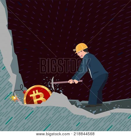 business man mining bitcoins unaware of the danger that threatens him
