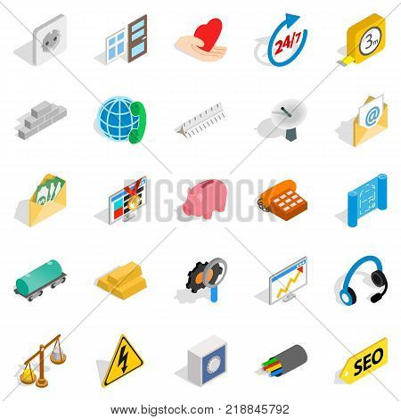 Industrial complex icons set. Isometric set of 25 industrial complex vector icons for web isolated on white background