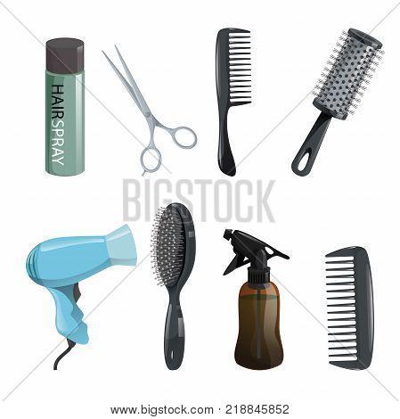 Hair beauty salon equipment set. Hairspray scissors comb hairbrush dryer. Vector icon illustrations. poster