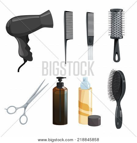 Hair beauty salon equipment set. Hairspray scissors comb for styling hairbrush dryerbrown bottle with gel . Vector icon illustrations.