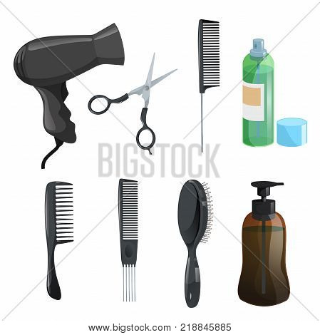 Hair beauty salon equipment set. Hairspray scissors combs for styling massage hairbrush dryer brown figure bottle with gel. Vector icon illustrations.