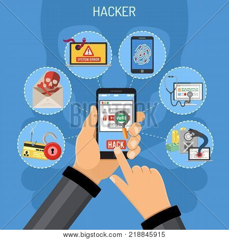 Cyber Crime Concept. Hacker holding smart phone in hand and hacks password. Flat style icons Hacker, Virus, Bug, Spam and Social Engineering. vector illustration