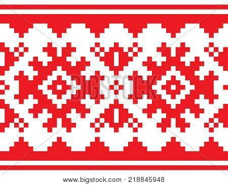 Scandinavian, Nordic vector belt seamless pattern, Lapland long red folk art design, Sami people traditional embroidery