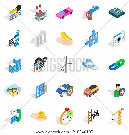 Private company icons set. Isometric set of 25 private company vector icons for web isolated on white background