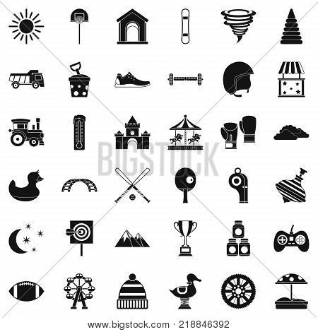 Playground icons set. Simple style of 36 playground vector icons for web isolated on white background