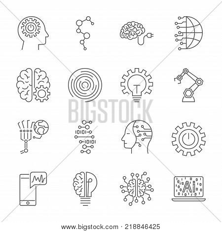 Simple Set of Artificial Intelligence Related Vector Line Icons. Contains such Icons as Face Recognition Algorithm Self-learning and more. Editable Stroke. EPS 10