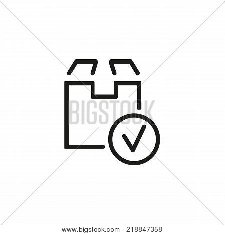 Line icon of cardboard box with tick sign. Parcel, cargo, freight. Delivery concept. Can be used for topics like service, transportation, logistics