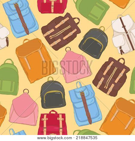 Trendy seamless pattern with backpacks or rucksacks of various models and colors. Background with modern bags or stylish accessories. Colored vector illustration for fabric print, wallpaper, backdrop