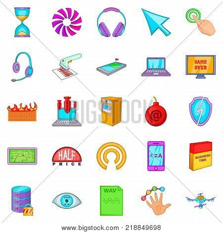 Computer literacy icons set. Cartoon set of 25 computer literacy vector icons for web isolated on white background