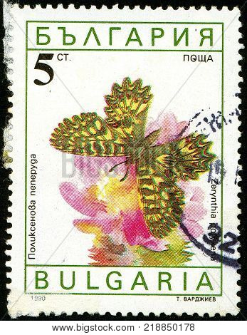 UKRAINE - circa 2017: A postage stamp printed in Bulgaria shows butterfly Southern Festoon Zerynthia polyxena Series Butterflies circa 1990