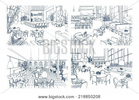Collection of monochrome drawings of cafe interiors with modern furnishings. Bundle of hand drawn sketches of restaurants furnished in loft style. Vector illustration in black and white colors
