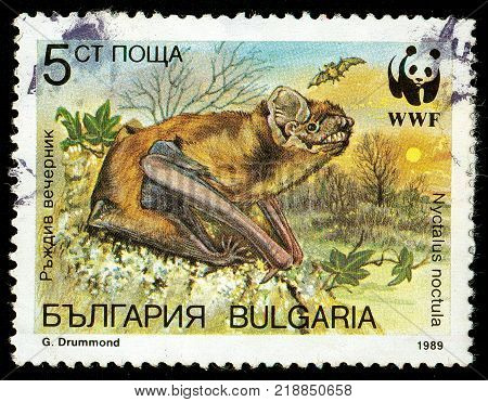 UKRAINE - circa 2017: A postage stamp printed in Bulgaria shows Bat Noctule Bat Nyctalus noctula Series WWF Bats circa 1989