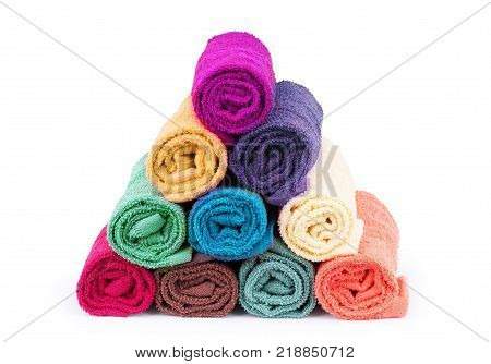 Colorful towels. Isolated on white background Studio, shot, Multi, colored, Group, objects, Tourist, resort,