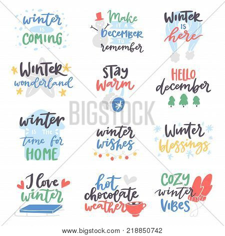 Winter Hello logo vector badge text letters motivation welcome wintertime phrases and quotes. Winter Hello phrase
