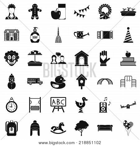 Childcare icons set. Simple style of 36 childcare vector icons for web isolated on white background