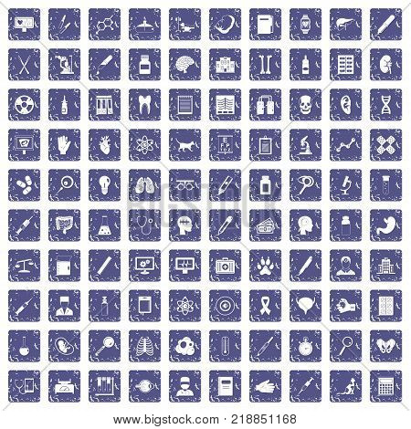 100 diagnostic icons set in grunge style sapphire color isolated on white background vector illustration