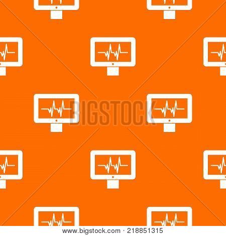 Electrocardiogram monitor pattern repeat seamless in orange color for any design. Vector geometric illustration