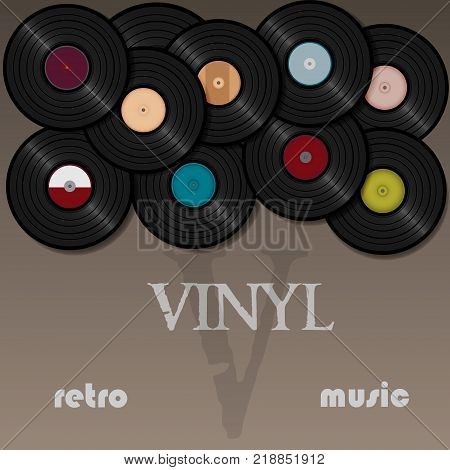 A beautiful vinyl record. Music. Vector illustration for a postcard or a poster, print for clothes. Vintage and retro.
