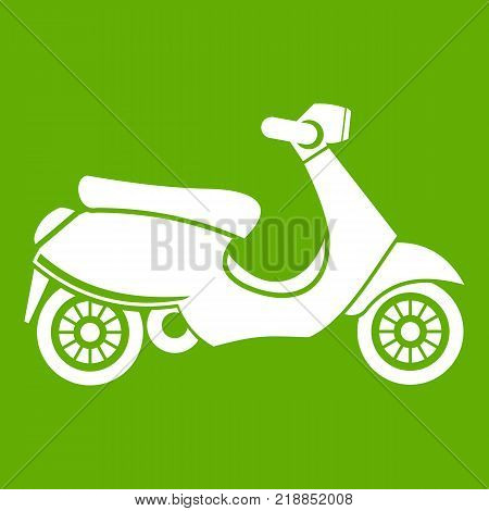 Vespa scooter icon white isolated on green background. Vector illustration