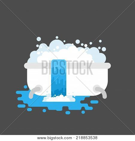 Bath is clogged with water leaking out. Vector illustration