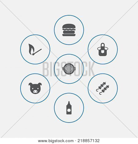 Collection Of Hamburger, Matchstick, Kitchen Uniform And Other Elements.  Set Of 7 Picnic Icons Set.