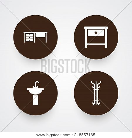 Collection Of Worktop, Bedside Table, Sink And Other Elements.  Set Of 4 Decor Icons Set.