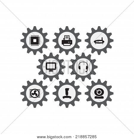 Collection Of Fan, Peripheral, Headset And Other Elements.  Set Of 8 Computer Icons Set.