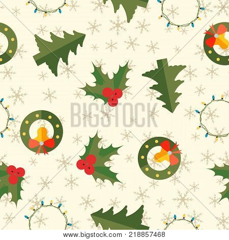 Winter holidays seamless pattern with jingle bells fir tree holly berry garland on light snowflake background vector illustration