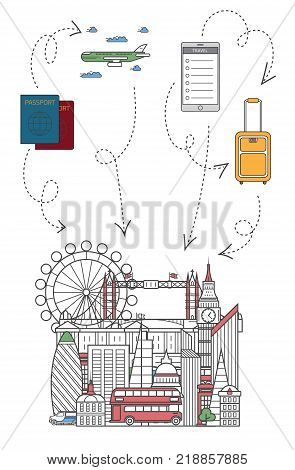 Lets travel poster with famous London architectural attractions, travel bag, passport, plane and smartphone in linear style. Online tickets ordering, europian tour advertising vector background.