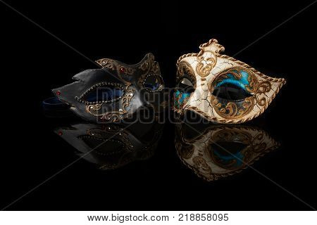 venetian carnival mask on a black background
