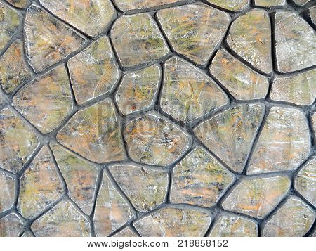 Texture of masonry. Cobblestone. Photo of stone paving. Natural stones used in architecture. Stone texture.