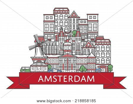Travel Amsterdam poster with national architectural attractions in trendy linear style. Amsterdam famous landmarks on white background. Holland tourism advertising and european voyage vector concept.
