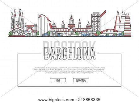 Travel Barcelona vector composition with famous architectural landmarks in linear style. Spanish traveling, time to travel concept. Barcelona historic attractions on white background, european tourism