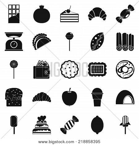 Ice cream parlor icons set. Simple set of 25 ice cream parlor vector icons for web isolated on white background