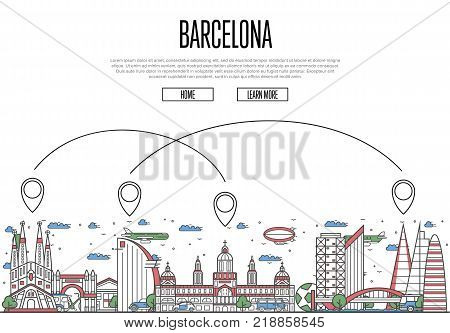 Air travel to Barcelona poster with historic architectural attractions and air route symbols in linear style. Barcelona landmarks on white background. European airway tourism vector illustration.