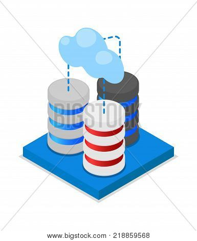 Cloud storage isometric 3D icon. Network cloud service, global data safety, datacenter system, online data backup vector illustration.