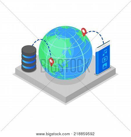 Global data storage isometric 3D icon. Network cloud service, data safety, world datacenter system, online data backup vector illustration.