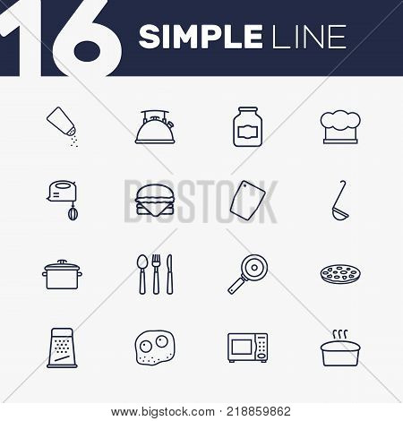 Collection Of Omelette, Pizza, Kettle And Other Elements.  Set Of 16 Culinary Outline Icons Set.