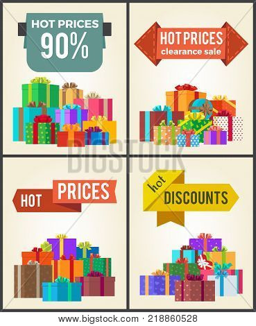 Hot prices total final sale discounts promo labels percent off signs on banners with piles of present boxes in decorative wrapping paper vector set