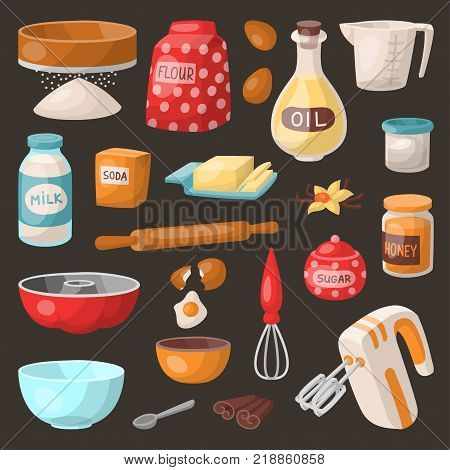 Baking cooking vector ingredients bake making cakes cook pastry prepare kitchen utensils homemade food preparation bakeware illustration bowl, sugar, powder.