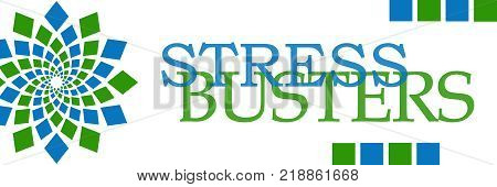 Stress busters text written over green blue background.