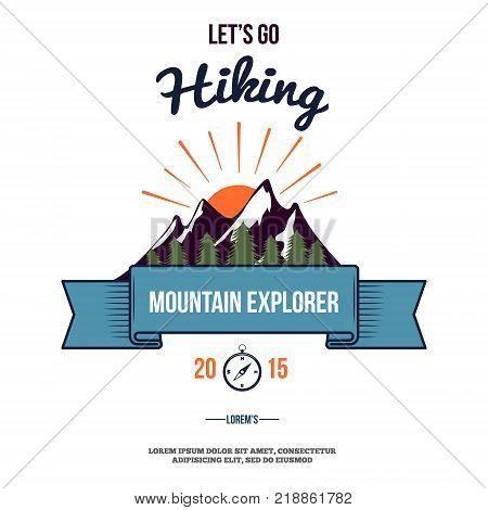 Hiking wilderness adventure badge graphic design logo emblem vector illustration