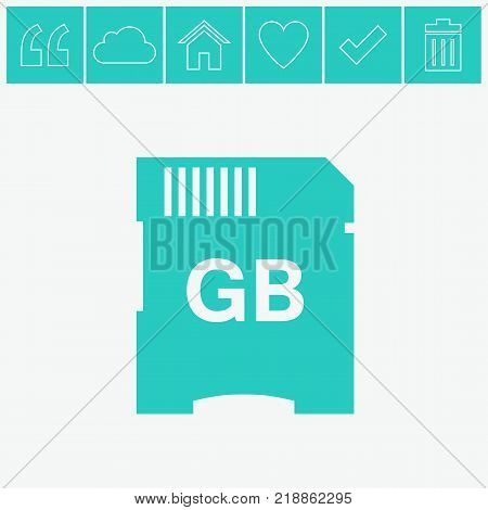 SD memory card vector flat icon on gray background.