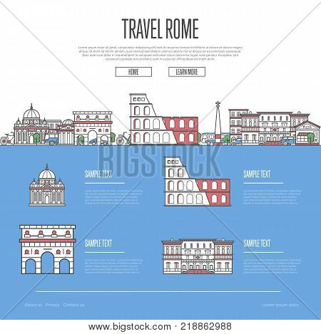 Rome city travel vacation guide with most important architectural attractions in trendy linear style. Roman skyline with national famous landmarks. Worldwide traveling and journey vector concept