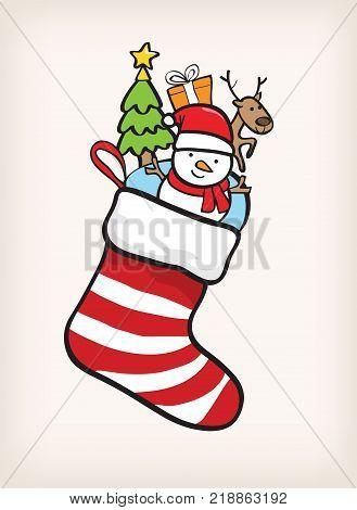 sock christmas vector, snow man in socks