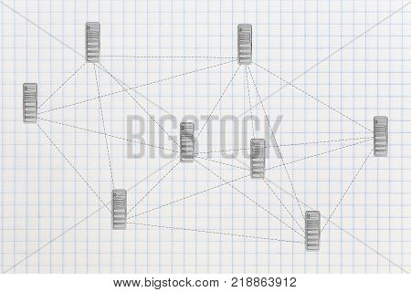 internet communication conceptual illustration: network with database servers and dashed lines connecting them