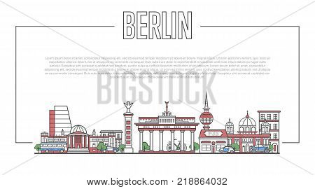 Berlin city landmark panorama with famous modern and ancient architecture in trendy linear style. Berlin national landmarks on white background. Worldwide traveling, european journey vector concept.